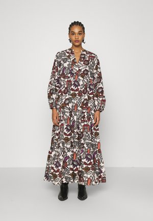 VOLUMINOUS PRINTED ORGANIC DRESS - Denní šaty - white/brown