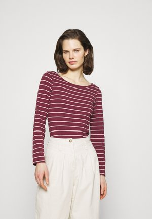 Long sleeved top - dark red/camel