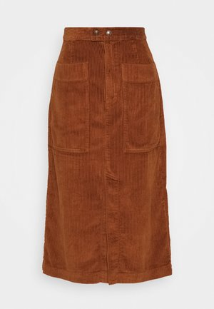 MIDI SKIRT - A-Linien-Rock - chestnut