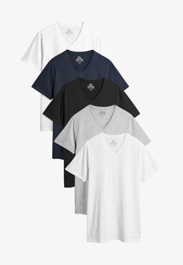 FIVE PACK - Jednoduché triko - black