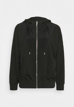 PANELLED ZIP THROUGH HOODIE - Zip-up sweatshirt - black