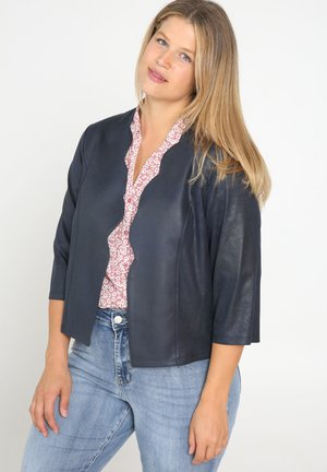 MIT BOGENKANTE - Faux leather jacket - marine