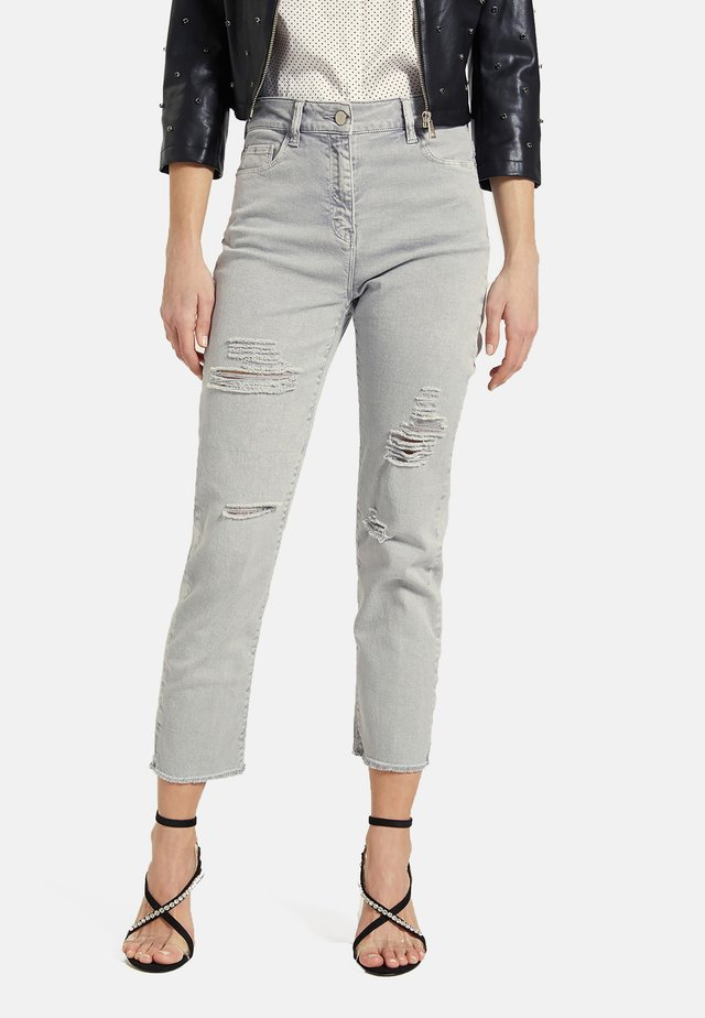 MIT RISSEN - Jeans slim fit - grey