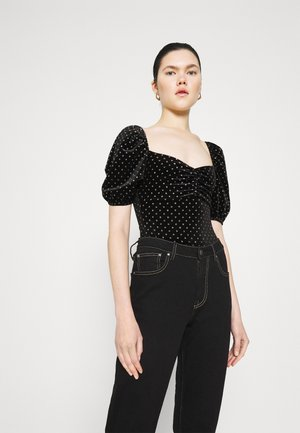 SPOT FRILL SLEEVE BODY - Print T-shirt - black
