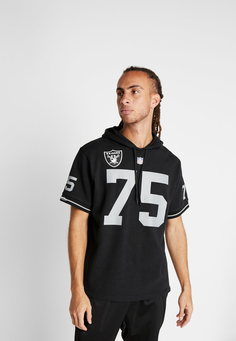 Mitchell & Ness - NFL NAME NUMBER HOODED SHORT SLEEVE - Sweat à capuche - black