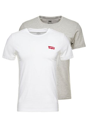2PACK - T-shirt z nadrukiem - white/mid tone grey heather