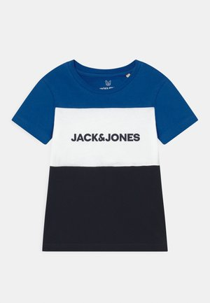 JJELOGO BLOCKING TEE - Print T-shirt - classic blue