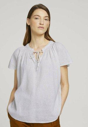 MIT LEINEN - Blouse - offwhite thin stripe woven
