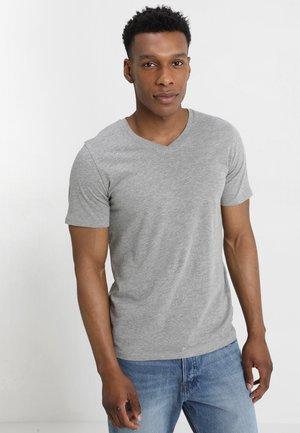 JJEPLAIN  - Basic T-shirt - light grey melange