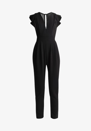 RUFFLE JUMPSUIT WITH BACK INSERT - Mono - black