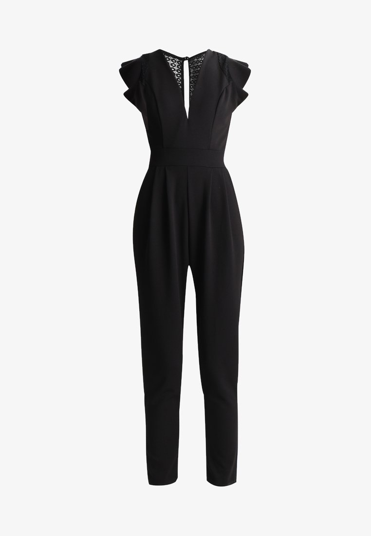 WAL G. RUFFLE JUMPSUIT WITH BACK INSERT - Jumpsuit - black/schwarz LJi8l6