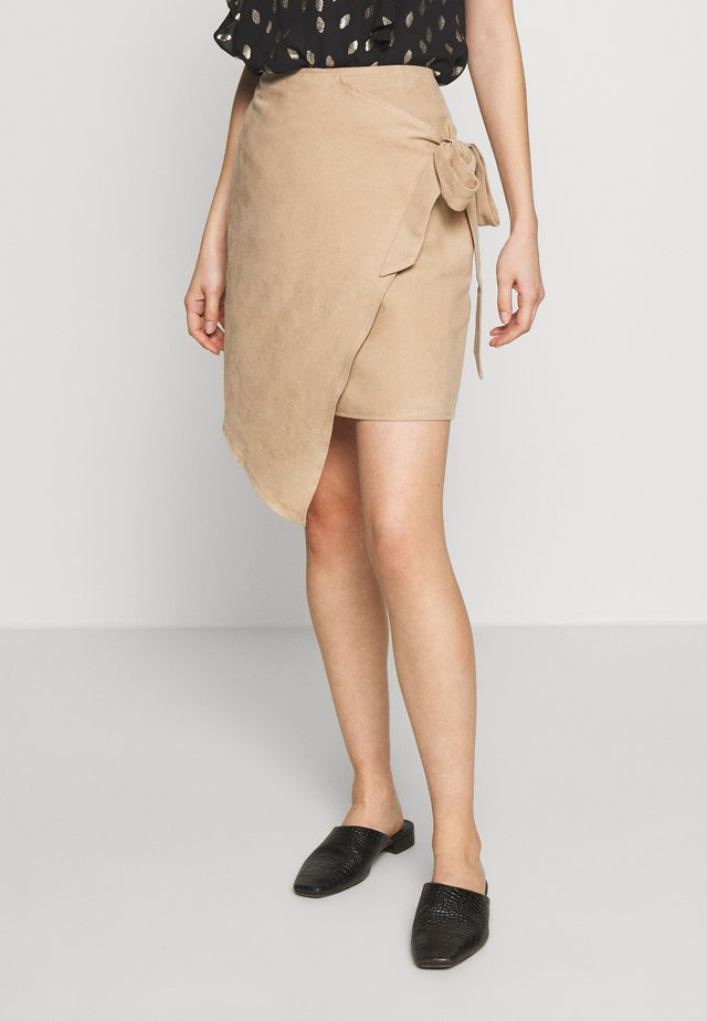 OVERLAP SKIRT - Pencil skirt - beige