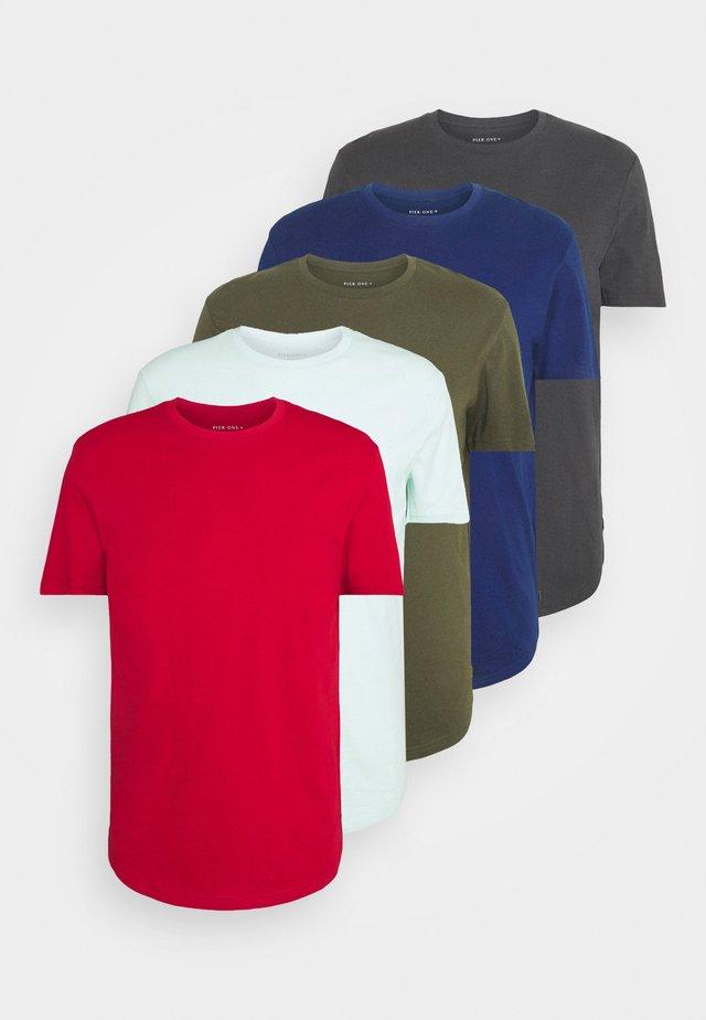 5 PACK - T-shirt basic - turquoise/khaki