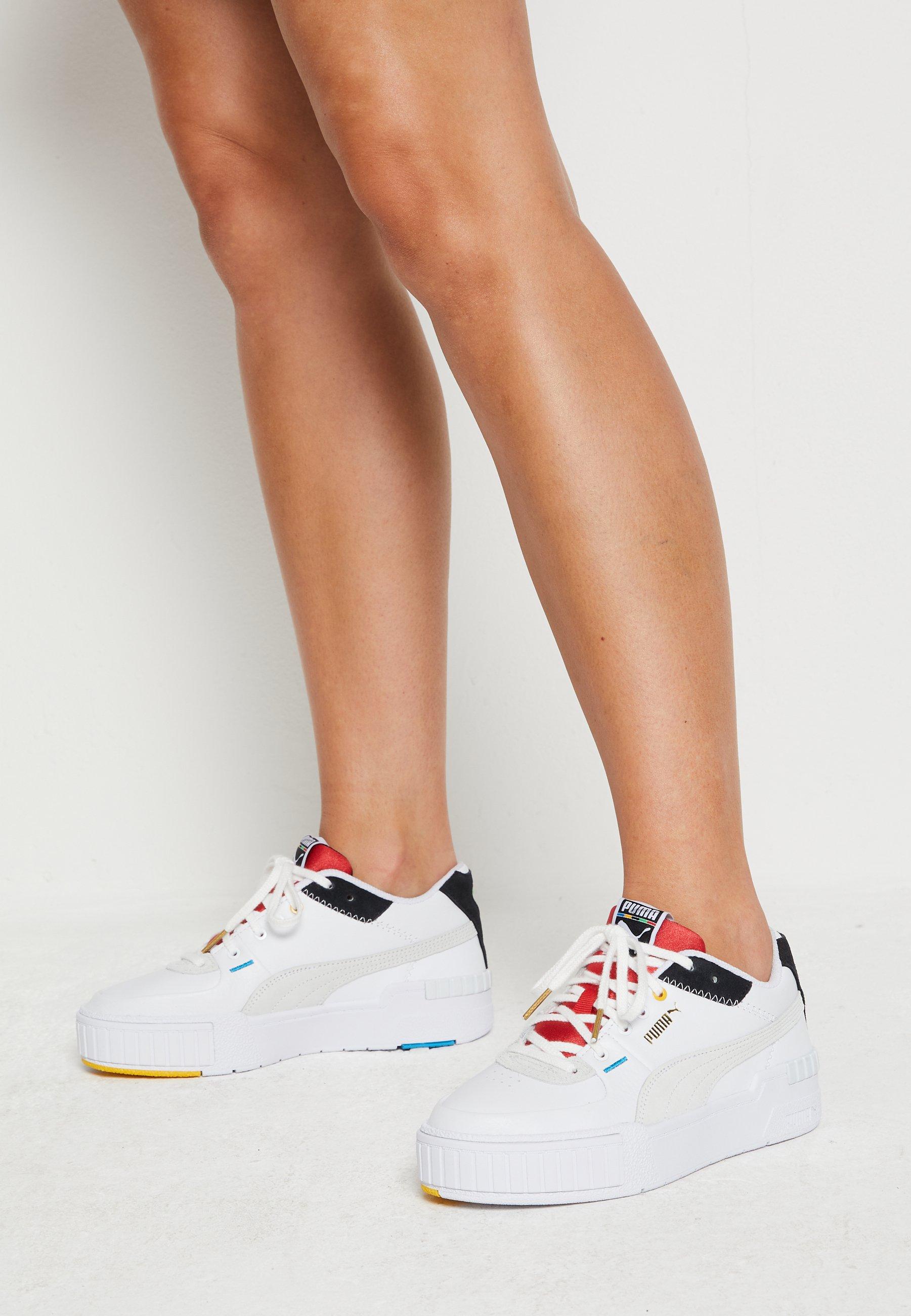 Puma CALI SPORT - Baskets basses - white/black/high risk red/blanc ...