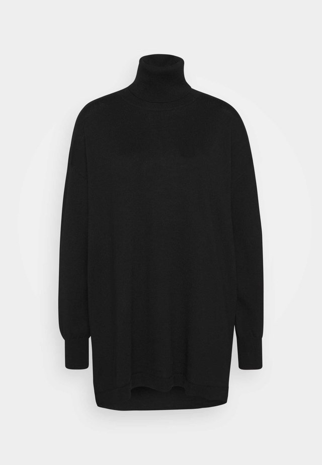 THELMA ROLLNECK - Stickad klänning - black