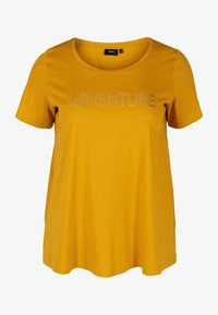 Zizzi - MIT A-LINIE - Print T-shirt - yellow - 3