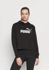 Puma - METALLIC LOGO HOODIE - Jersey con capucha - black/silver - 0