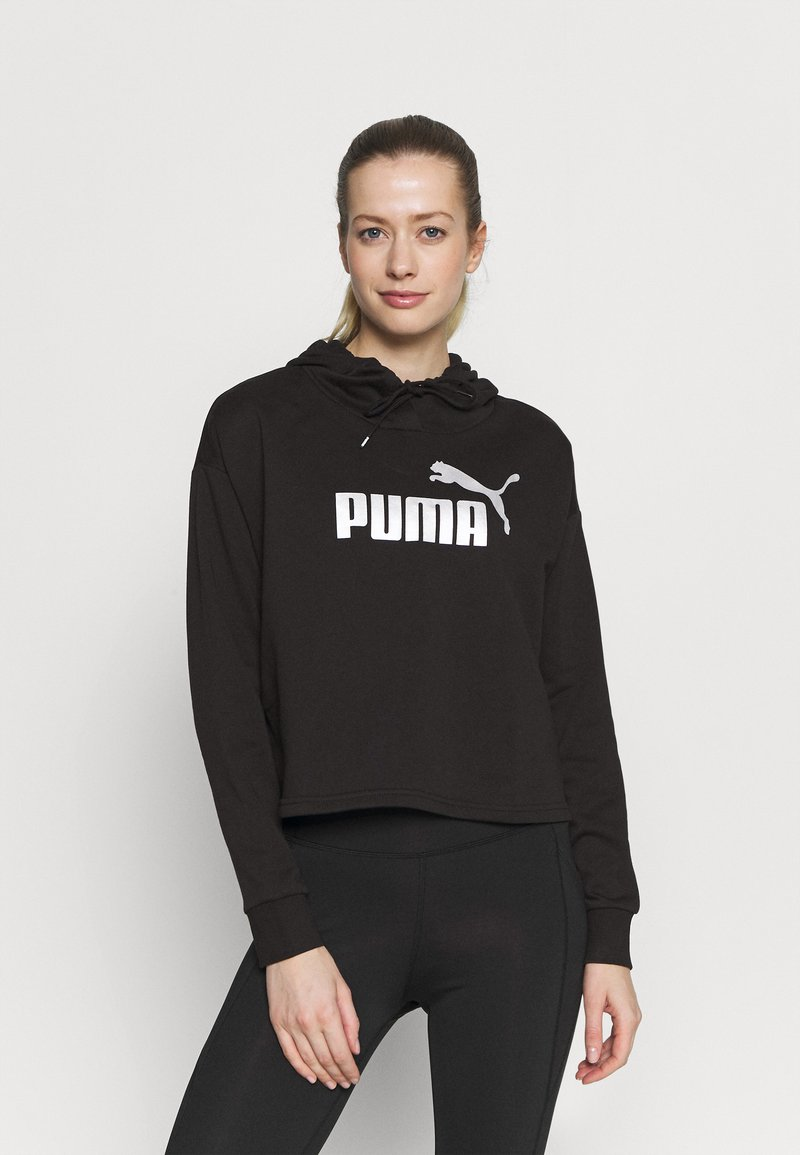Puma - METALLIC LOGO HOODIE - Jersey con capucha - black/silver