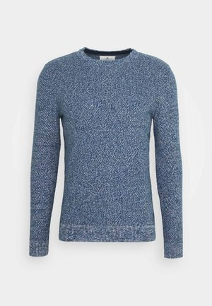 Pullover - navy blue/white mouline