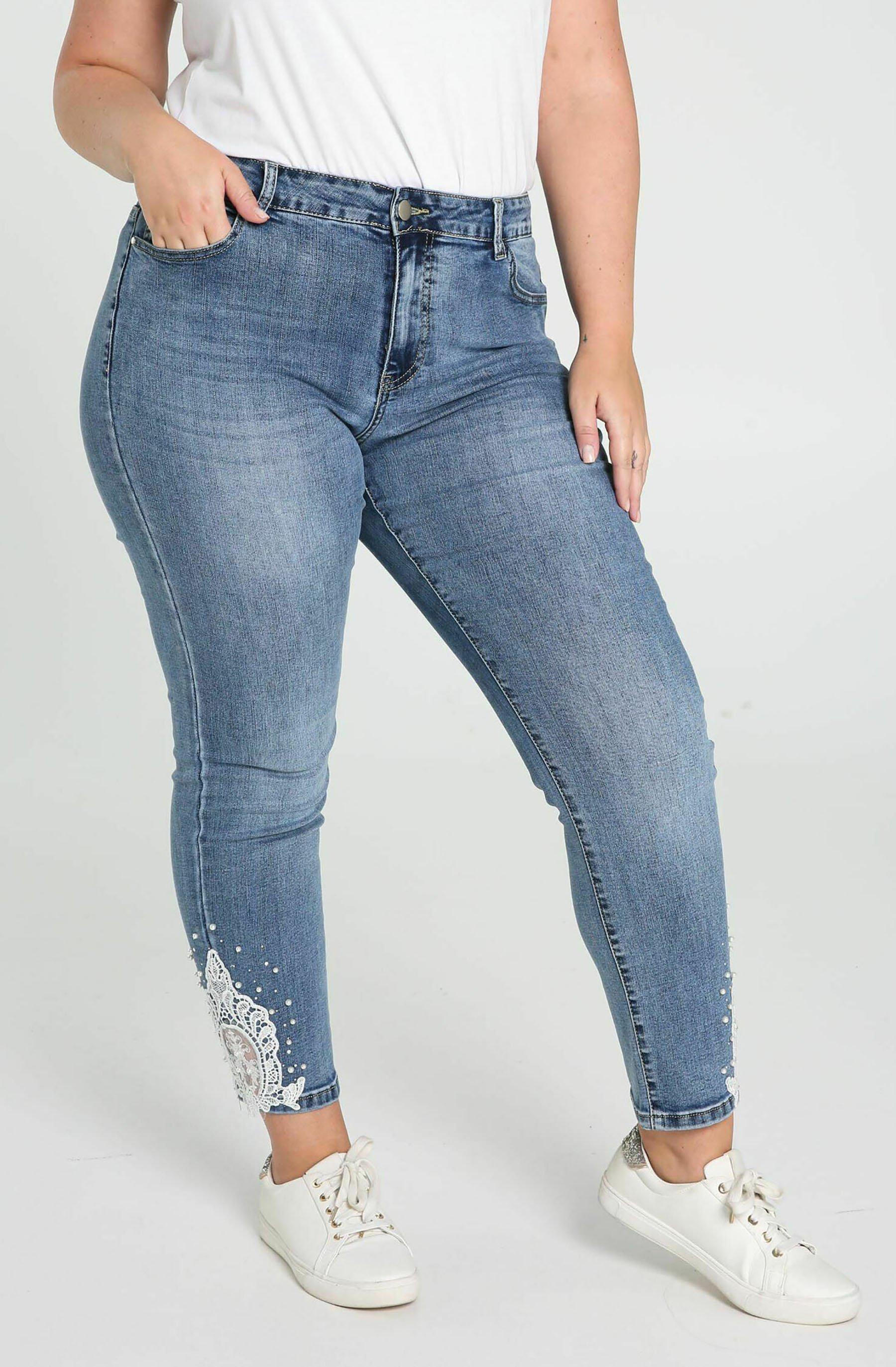 Damen LOUISE 7/8 DENTELLE ET PERLES - Jeans Skinny Fit