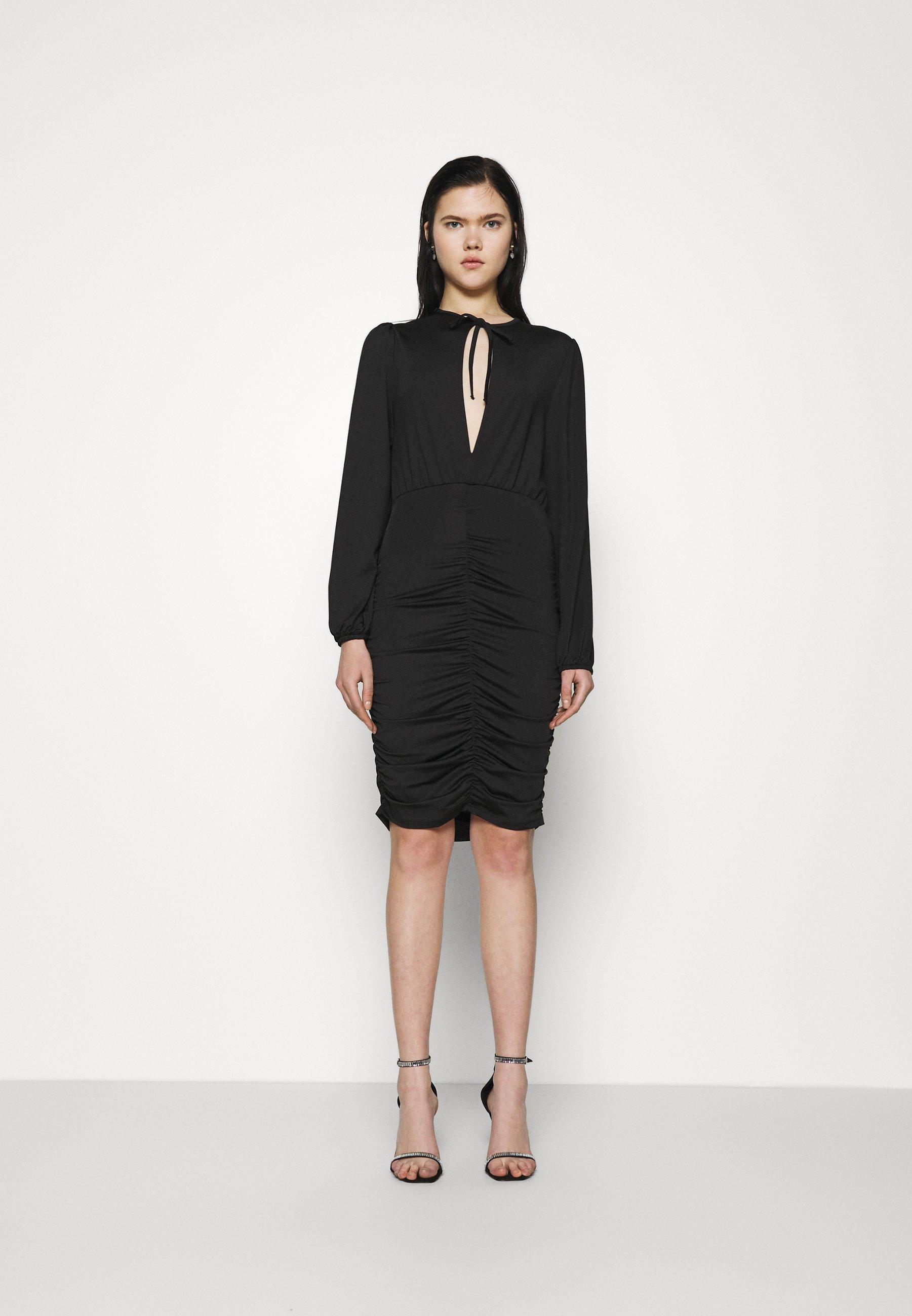 Women KEYHOLE TIE SLINKY DRESS - Jersey dress