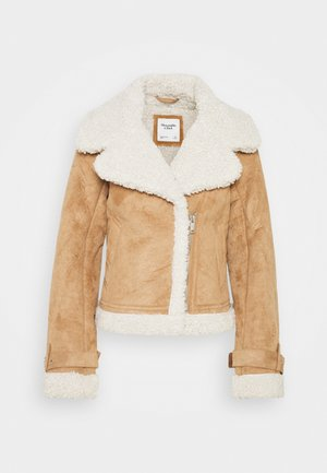 SHEARLING AVIATOR SHORT - Kurtka zimowa - brown