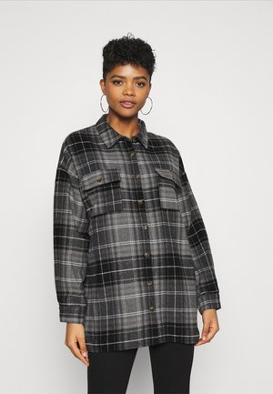 NMFLANNY LONG SHACKET - Button-down blouse - black/grey