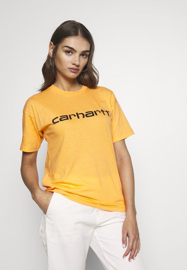 SCRIPT - T-shirt con stampa - pop orange / black