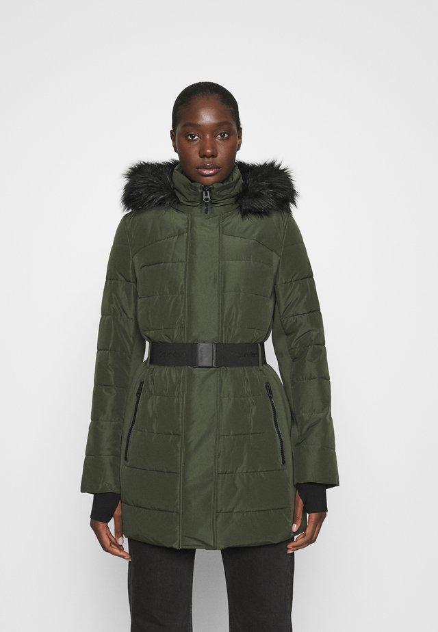 BELTED COAT - Winter coat - dark olive