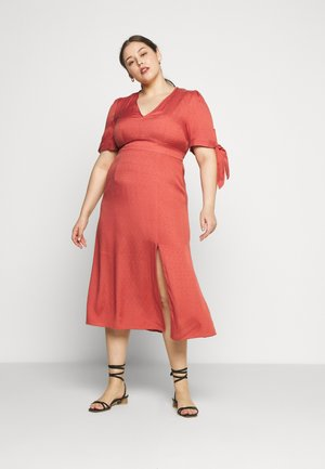 TIE SLEEVE MIDI DRESS - Denní šaty - faded red