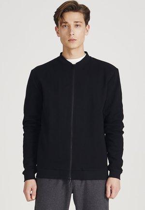 Zip-up sweatshirt - black (structure)