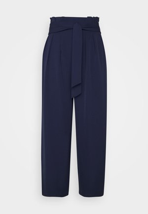 Wide cropped leg trousers with belt - Trousers - dark blue