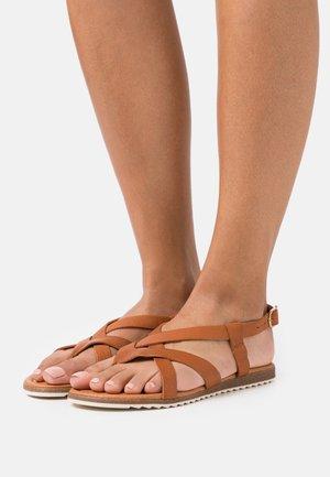 LORENA - T-bar sandals - cognac