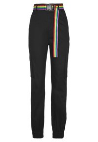 Missguided - PRIDE RAINBOW BELTED TROUSER - Cargo trousers - black - 5