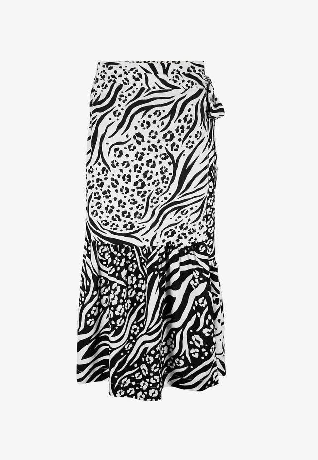 MONO ANIMAL FAUX WRAP MIDI SKIRT - Kietaisuhame - black