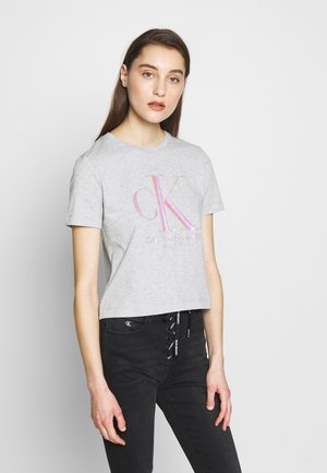IRIDESCENT STRAIGHT TEE - T-shirt med print - light grey heather