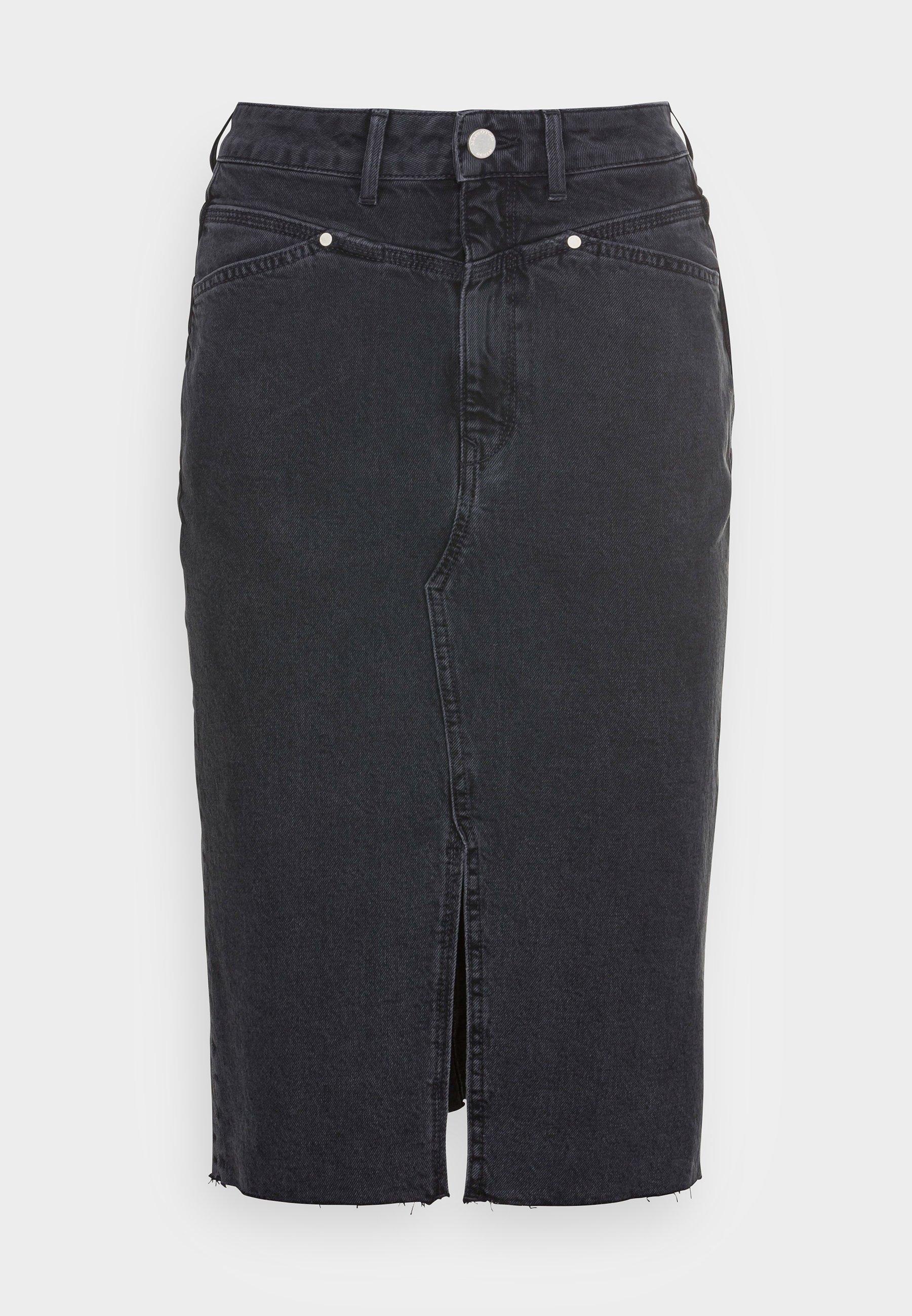 Femme MID LENGTH HIGH WAIST POCKETS - Jupe en jean