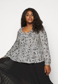 CAPSULE by Simply Be - FRILL BLOUSE - Button-down blouse - black/white - 3