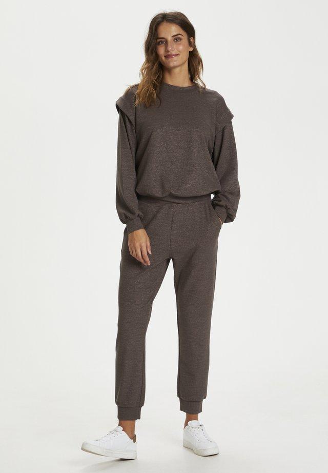 Sweatshirt - grey brown w. silver lurex