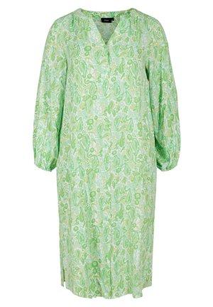 Shirt dress - green paisley aop