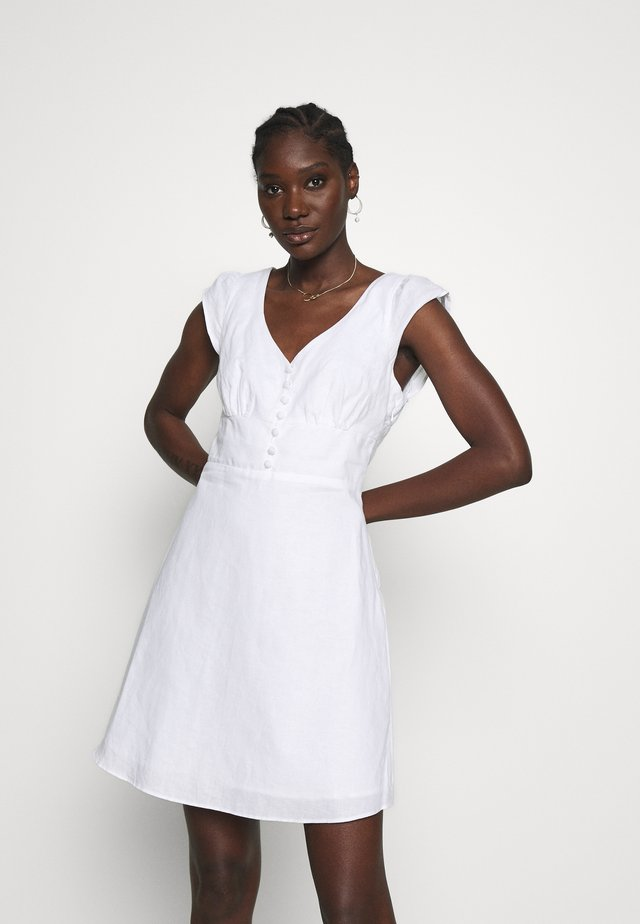 RUFFLE FRONT MINI SOLID - Day dress - white