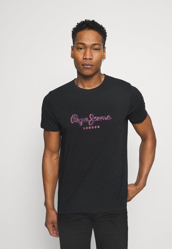 Pepe Jeans MENDEL - T-shirt z nadrukiem - black/czarny Odzież Męska SDIS