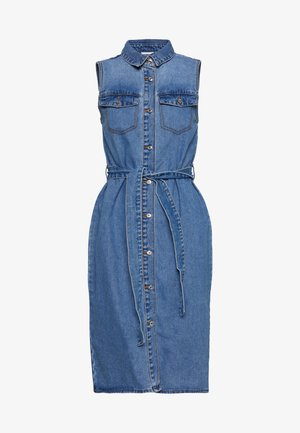 NMMINA BUTTON DRESS - Denim dress - medium blue denim