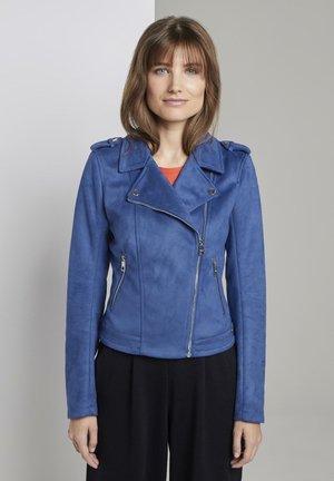 Faux leather jacket - shiny royal