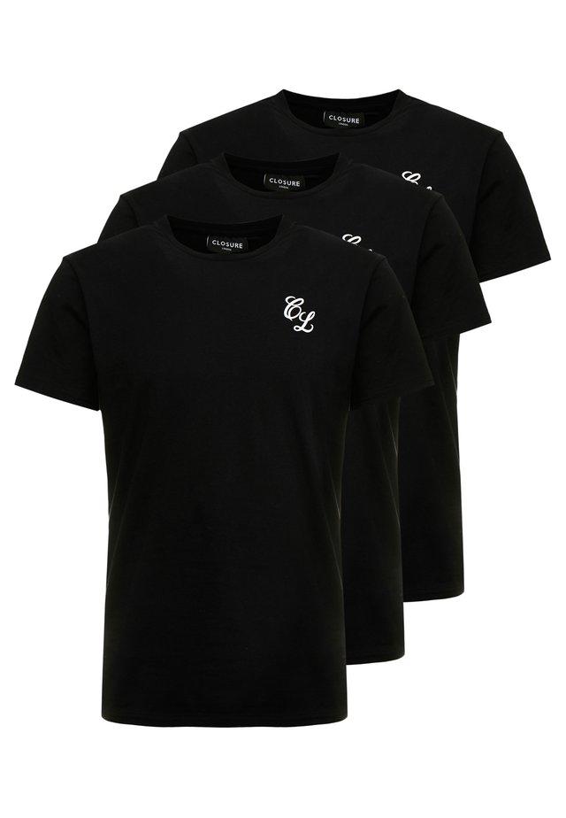 SIGNATURE TEE 3IPACK - T-Shirt basic - black