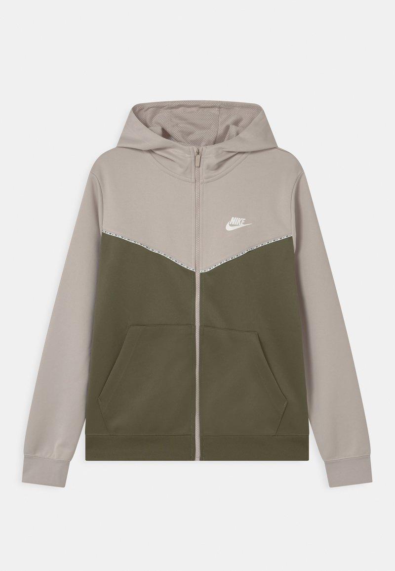 Nike Sportswear - REPEAT HOODIE - Training jacket - desert sand/medium olive/white