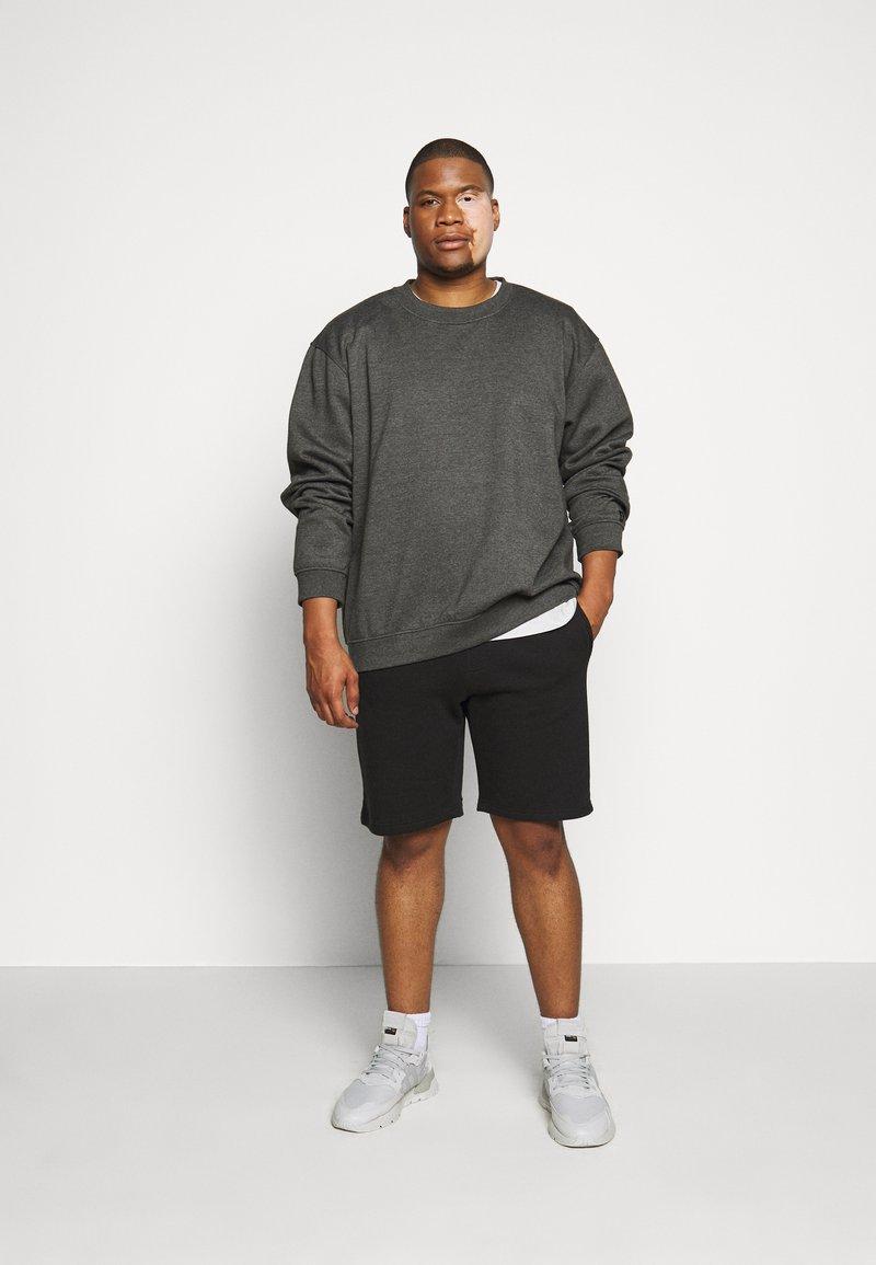 Pier One - 2 PACK - Shorts - black/mottled light grey