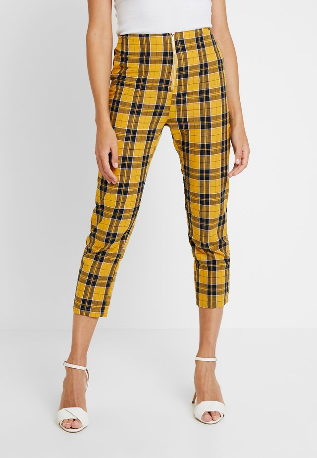 YELLOW PLAID PANTS - Trousers - yellow