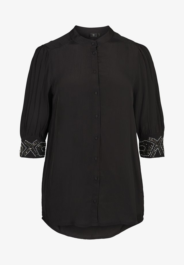 MIT PERLEN - Button-down blouse - black