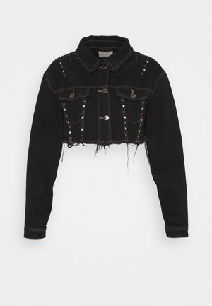STUDDED CROP JACKET - Džínová bunda - black acid